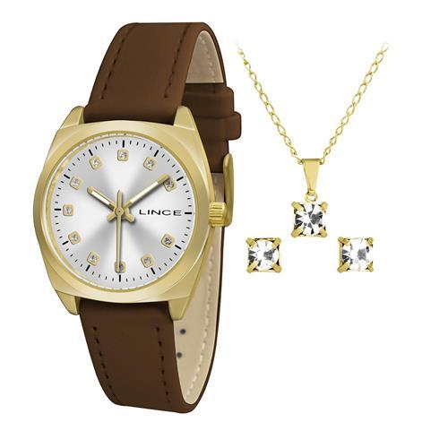 Relógio Feminino Lince Analógico LRCH051L KT49 Kit Colar e Par de Brincos