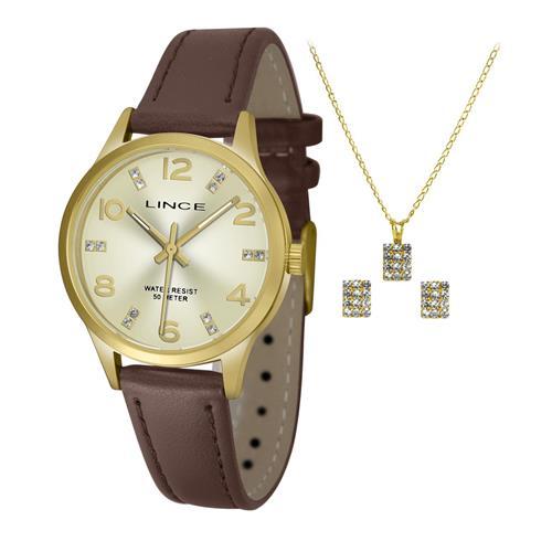Relógio Feminino Lince Analógico LRCH052L KT65 Kit Colar e Par de Brincos
