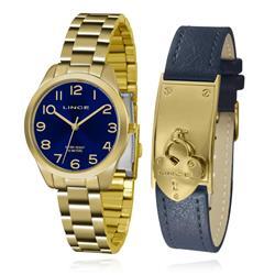 Relógio Feminino Lince Analógico LRG4459L KT78 Kit Pulseira Couro com Berloque