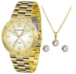 Relógio Feminino Lince Analógico LRGH036L KT96 Kit Colar e Par de Brincos