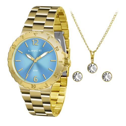 82749e75326 Relógio Feminino Lince Analógico LRGH036L KT95 Kit Colar e Par de Brincos