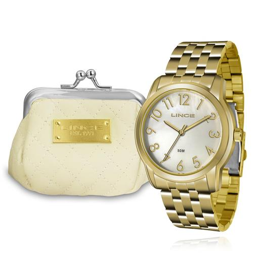 Relógio Feminino Lince Analógico LRG4456L KT72 Kit com Porta Níquel