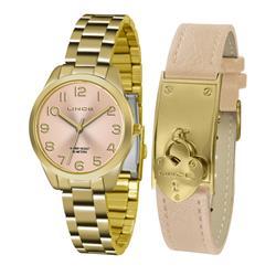 Relógio Feminino Lince Analógico LRG4459L KT79 Kit Pulseira em Couro