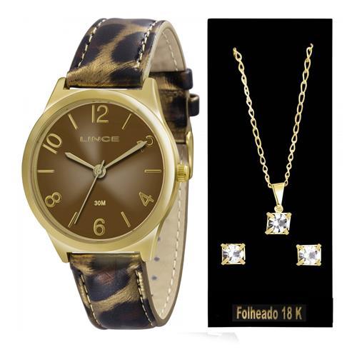 Relógio Feminino Lince Analógico LRC4301L K106 Kit Colar e Par de Brincos
