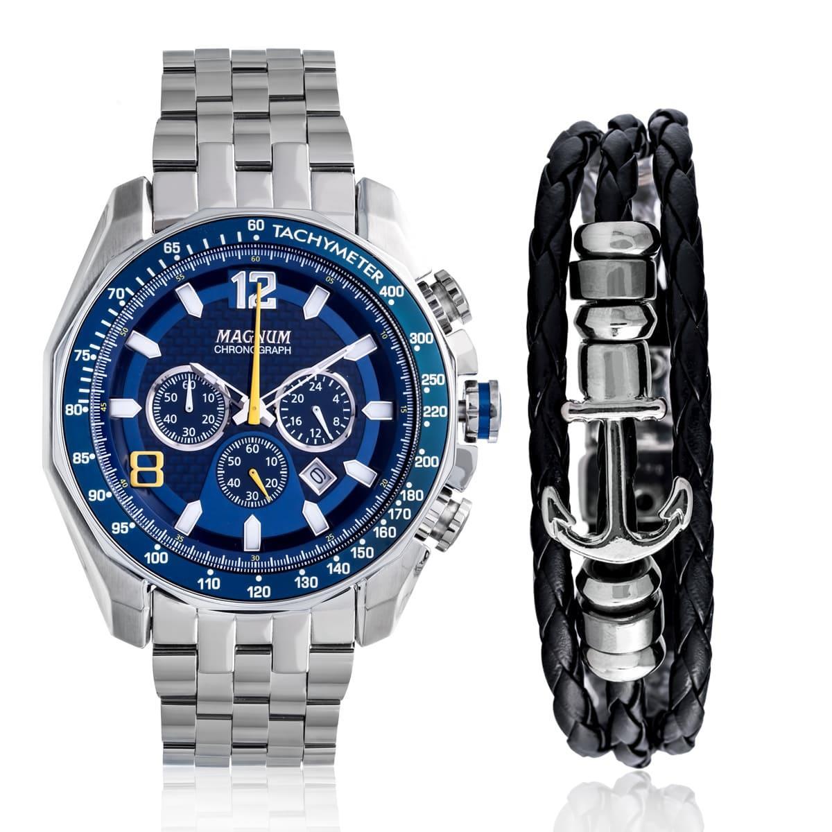 8fb7e8b4f43 Relógio Masculino Magnum Analógico MA32167O Kit Pulseira