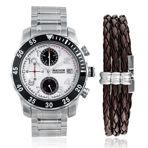 Relógio Masculino Magnum Analógico MA32523D Kit com Pulseira