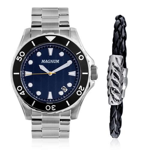 Relógio Masculino Magnum Analógico MA34727O Kit com Pulseira