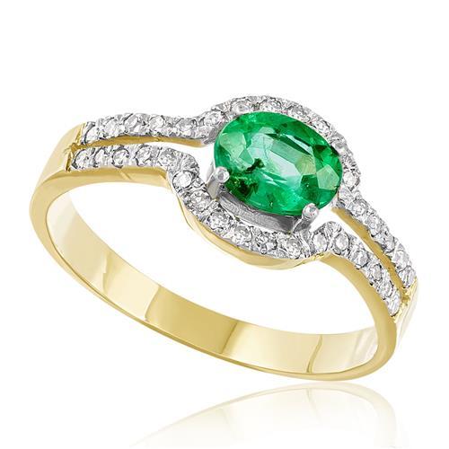 Anel com Diamantes totalizando 50 pts e Esmeralda de 1,05 Cts., em Ouro Amarelo