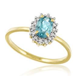 Anel com Diamantes totalizando 15 pts. e Turmalina Paraíba de 80 pts., em Ouro Amarelo