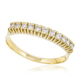 Meia Aliança com 11 Diamantes totalizando 30 pts., em Ouro Amarelo