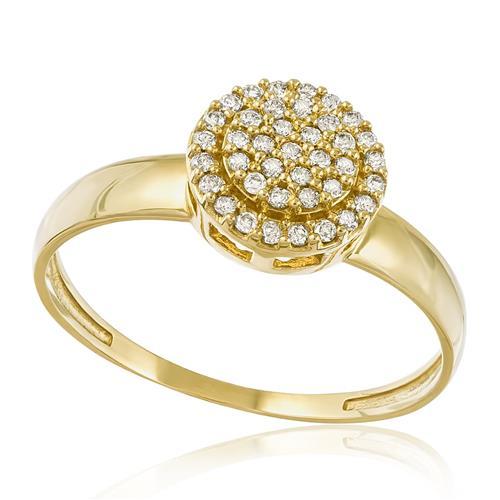 Anel com Trabalhado com Diamantes totalizando 20 pts., em Ouro Amarelo