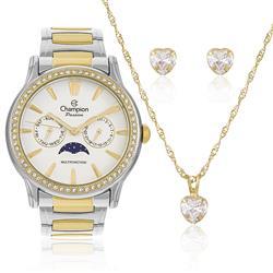 Relógio Feminino Champion CH38440W Kit Colar e Par de Brincos