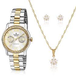Relógio Feminino Champion Analógico CH38468W Kit Colar e Par de Brincos