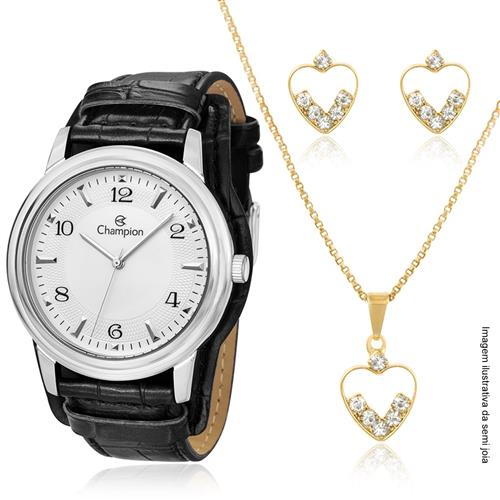 Relógio Feminino Champion Passion CN20195C Kit Colar e Par de Brincos