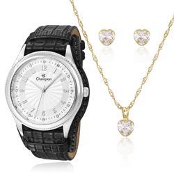 Relógio Feminino Champion Passion CN20248C  Kit Colar e Par de Brincos