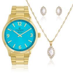 Relógio Feminino Champion Elegance CN26206Y Kit Colar e Par de Brincos