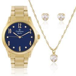 Relógio Feminino Champion Elegance CN26242K Kit Colar e Par de Brincos