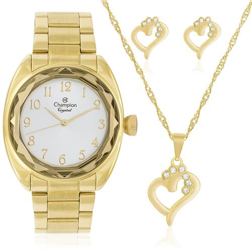 Relógio Feminino Champion CN26297W Kit Colar e Par de Brincos