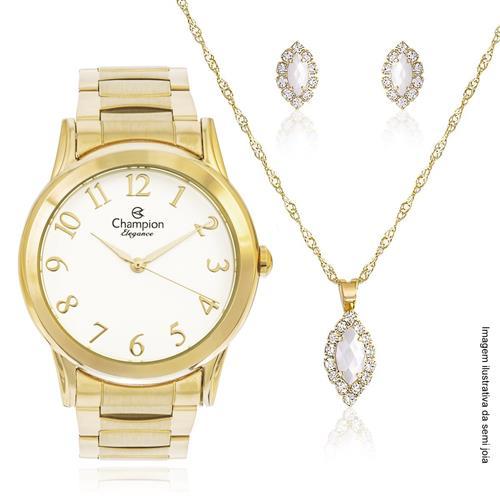 Relógio Feminino Champion CN26724W Kit Colar e Par de Brincos