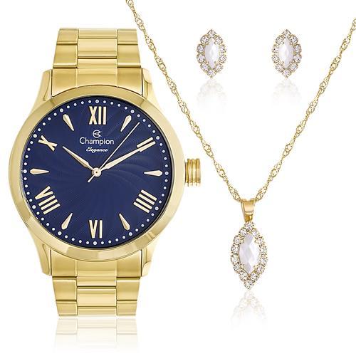 07e0d31a264 Relógio Feminino Champion Elegance CN27796K Kit Colar e Par de Brincos