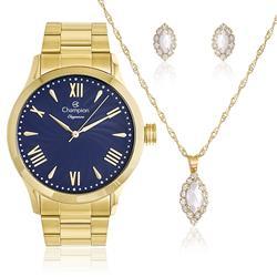 Relógio Feminino Champion Elegance CN27796K Kit Colar e Par de Brincos