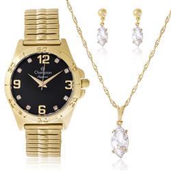 Relógio Feminino Champion Elegance CN27812K Kit Colar e Par de Brincos