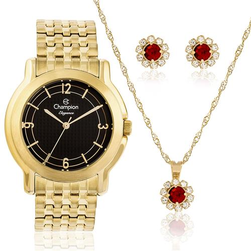 Relógio Feminino Champion Elegance CN27876K  Kit Colar e Par de Brincos