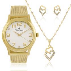 Relógio Feminino Champion Elegance CN29007W  Kit Colar e Par de Brincos