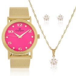 Relógio Feminino Champion Elegance CN29034J  Kit Colar e Par de Brincos