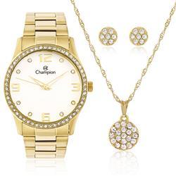 Relógio Feminino Champion Elegance CN29043W  Kit Colar e Par de Brincos