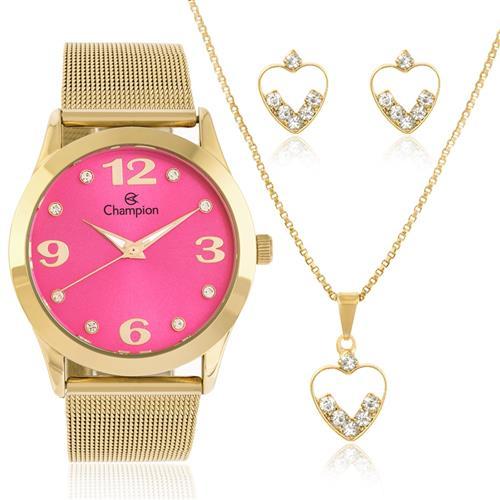 Relógio Feminino Champion Elegance CN29098J  Kit Colar e Par de Brincos