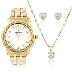 Relógio Feminino Champion CN29954W  Kit Colar e Par de Brincos