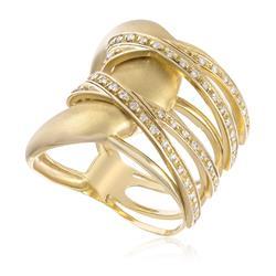 Anel com Diamantes totalizando 50 pts., em Ouro Amarelo
