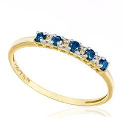 Anel com 5 Diamantes Azuis e 4 Diamantes Brancos totalizando 20 pts., em Ouro Amarelo