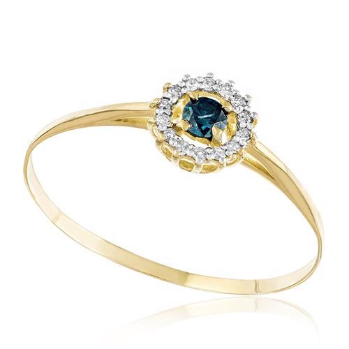 Anel com 14 Diamantes e Diamante Azul de 15 pts., em Ouro Amarelo