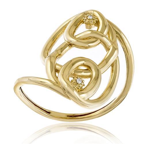Anel com Trabalhado com 2 Diamantes, em Ouro Amarelo