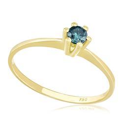 Anel Solitário com Diamante Azul de 15 pts., em Ouro Amarelo