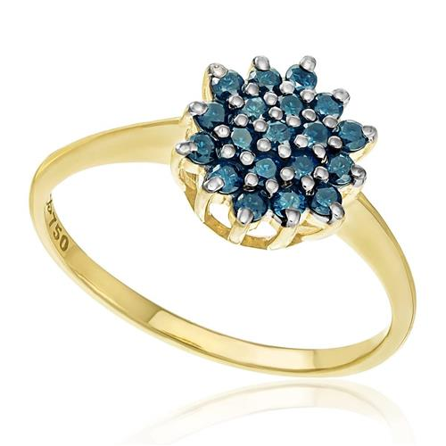 Anel com 19 Diamantes Azuis totalizando 50 pts., em Ouro Amarelo