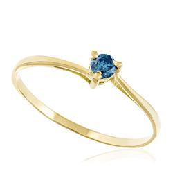 Anel Solitário com Diamante Azul de 12 Pts, em Ouro Amarelo