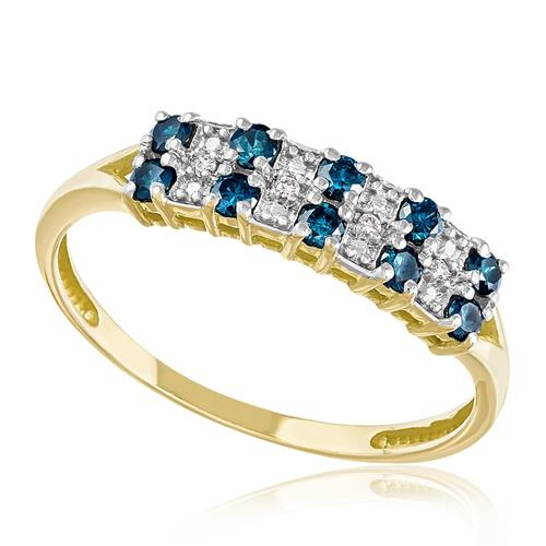 Meia Aliança Dupla com 14 Diamantes Azuis e 4 Diamantes, em Ouro Amarelo