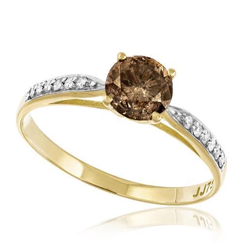 Anel Solitário com Diamante Chocolate de 1,0 Ct. e 12 Diamantes Laterais, em Ouro Amarelo