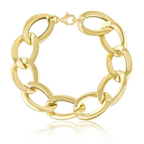 aad4061b04f74 Pulseira de ouro malha Elos Grumet grandes