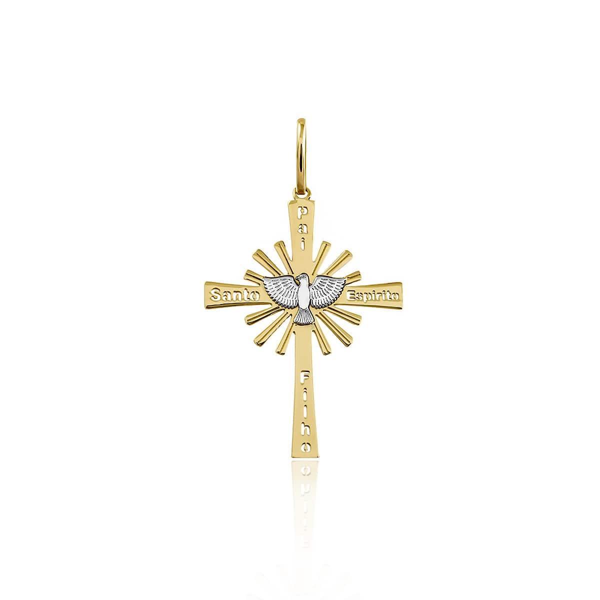 72cd16014f8a8 Pingente Cruz Espírito Santo em Ouro Amarelo com Detalhe em Ródio