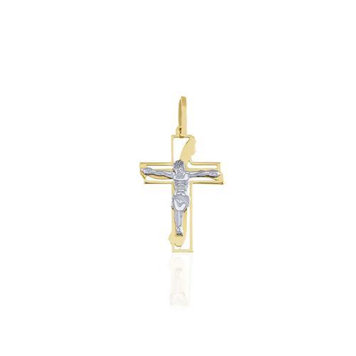 Pingente Crucifixo em Ouro 2 Cores