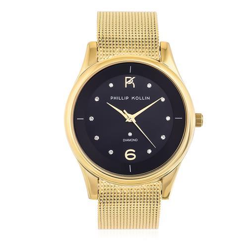 Relógio Feminino Phillip Kollin Ibiza Diamond Gold Black Ref  ZY28154U Dourado