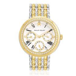 Relógio  Feminino Phillip Kollin Genova Mixed Gold Silver Ref ZY28181S Misto