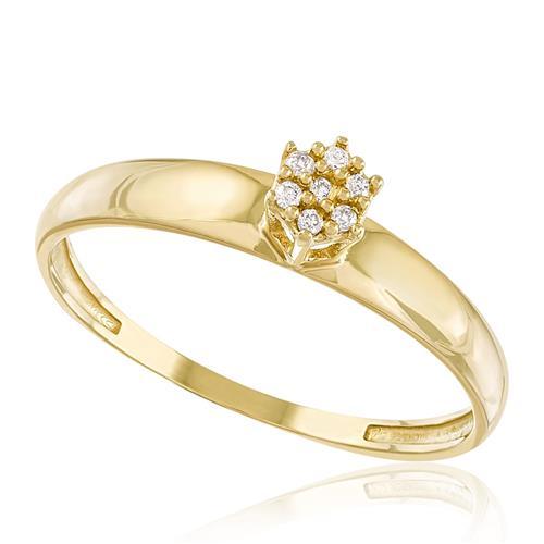 Anel com Trabalhado com 7 Diamantes, em Ouro Amarelo