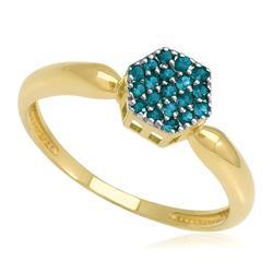 Anel Chuveiro Sextavado com 19 Diamantes Azuis totalizando 25 pts., em Ouro Amarelo