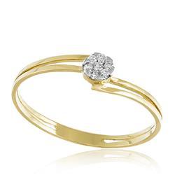 Anel com Diamantes totalizando 10 pts., em Ouro Amarelo