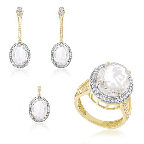Conjunto Anel, Par de Brincos e Pingente Com Cristais e 5 Diamantes com Corrente